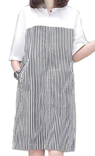 MSP レディース ワンピース ドレス 半袖 ストライプ ゆったり チュニック ミニワンピ