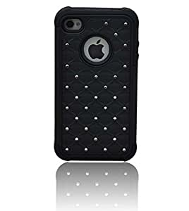 Anmay®Compatible Hybrid Cute crystal Diamond Decoration Fitted Case for iPhone 4/4S (Black)