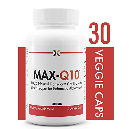 CoQ10 with Black Pepper for Enhanced Absorption - 100% Natural Trans-Form CoQ10 - MAX-Q10 CoEnzyme Q10 200 mg - Stop Aging Now - 30 Veggie Caps
