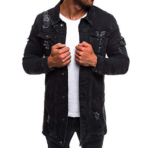 Sumen Men Casual Classic Distressed Denim Jacket Loose Ripped Jean Coat ()
