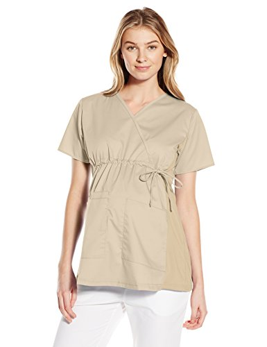 (WonderWink Women's Wonderwork Maternity Top, Khaki, Medium)