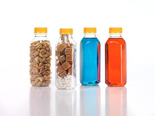 (12) 16 oz. Clear Food Grade Plastic Juice Bottles Square withCaps (12/Pack) (Orange)