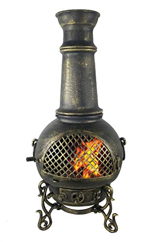 The Blue Rooster CAST ALUMINUM Gatsby Wood Burning Chiminea in Gold Accent.