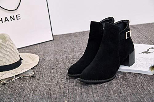 Wsr stivaletti donna stivaletti semplice moda punta nero con spessa a Inghilterra Stivali da aETxzqzO