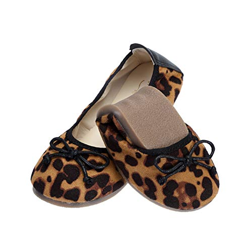 (MAXIUSS PKBOO Toddler/Little Kid Girls Bowknot Leopard-Print Casual Party Slip on Mary Jane Flat Dress Shoes)