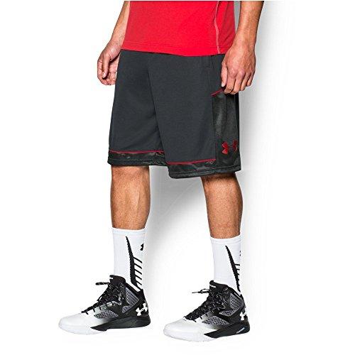 Basketball Mens Shorts (Under Armour Men's Baseline Basketball Shorts, Black/Red, Large)