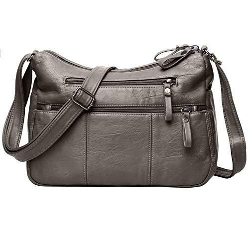 Volcanic Rock Women Crossbody Bag Pocketbooks Soft PU Leather Purses and Handbags Multi Pocket Shoulder Bag (Antique Silver-11.8