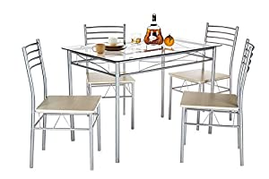 VECELO Glass Dining Room Table Sets And 4 Chairs   Silver Part 38