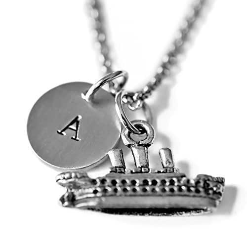 a761bd50a592 Amazon.com  Antique Silver Plated Pewter Cruise Ship Necklace ...