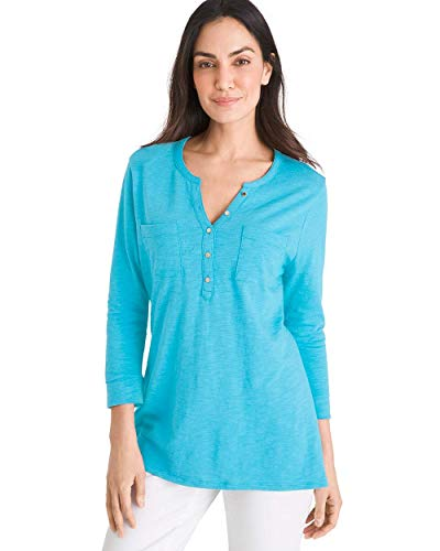 Chico's Women's Cotton-Blend Slub Henley Tee Size 8/10 M (1) Blue