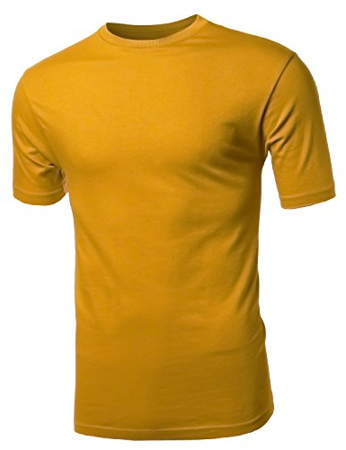 Basic Solid Various Color Crew Neck Short Sleeves Tee Mustard (Mustard T-shirt Tee)