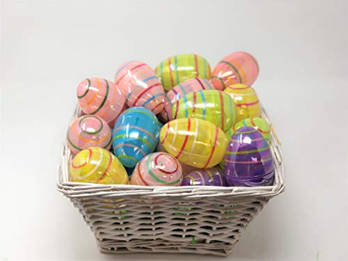 (Iridescent Stripes Fillable Plastic Easter Eggs Containers, 24 Count)