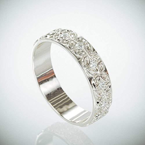 Celtic Diamond Set - 14K white Gold Celtic Flower Woman Wedding Ring Set with Diamonds | Hers Celtic flower Gold Wedding Bands Set with Diamonds