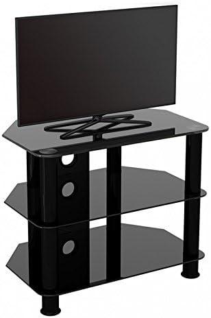 King Mesas de TV de Cristal, de Cristal Negro Gabinete Mueble Plataforme de TV, Cable Gestión, LCD, LED, HD, curvado, 4K, 20