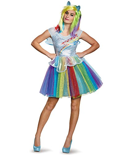 My Little Pony Costume Adults (Disguise Women's My Little Pony Rainbow Dash Deluxe Costume, Multi,)
