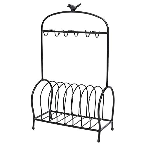 Festnight Metal Kitchen Dish Coffee Mug Cup Holder with 6 Hooks Bird Cage Shape Meal Tray Holder Display Rack Organizer Stand for Table Counter Cabinet 20.9