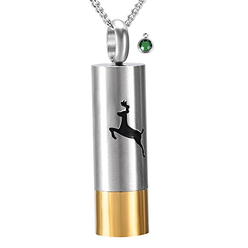 DIYjewelry Inc Deer Engraved Cylinder Stainless Steel Cemation Urn Necklace Ashes Keepsake Memorial Gift (May)