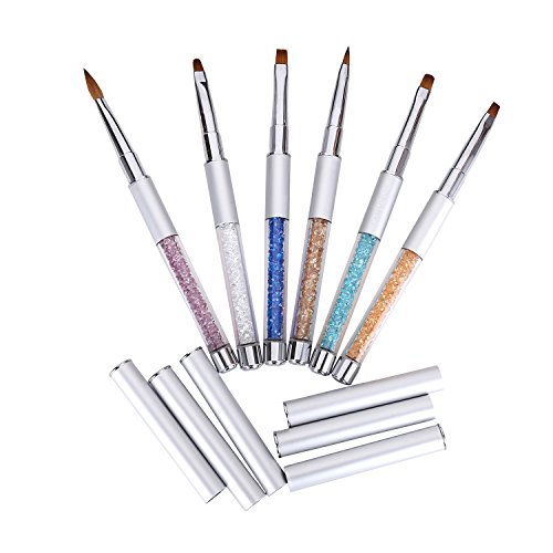 MAKARTT® 6PCS Sable Acrylic Gel Brush Pen Set with Roll Up