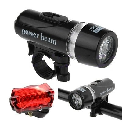 5 LED Taillight BlueSunshine 1 Pair Bike Bicycle Light Set Super Bright 5 LED Headlight