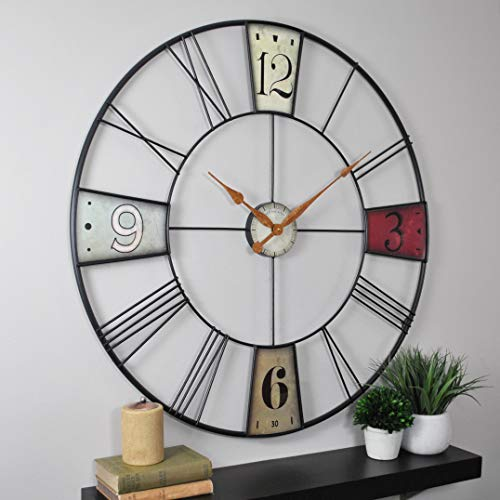 FirsTime & Co 31014 FirsTime Vibrant Plaques Wall Clock, 36