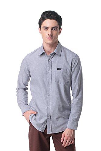 Oxford Mens Hamilton (Pau1Hami1ton P-09 Cotton Shirts for Men White (L,Grey))