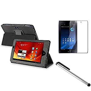 Leather Case with Screen Protector / Stylus for Acer ICONIA TAB A100-Black