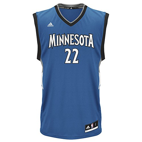 fan products of NBA Men's Minnesota Timberwolves Andrew Wiggins Replica Player Road Jersey, Medium, Blue