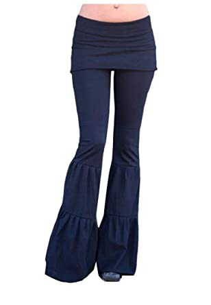 1a40feadc95 Young2 Womens Solid Yoga Long Wide-Leg Fake Two Piece Bell Bottom Pants  Black XS