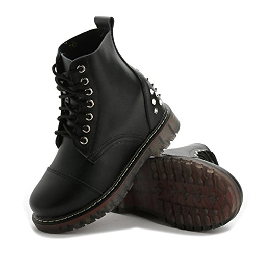 Price comparison product image Autumn Melody Stylish Women Martin Boots Personalized Rivet Lacing Short Boots Size 6.5 US Black