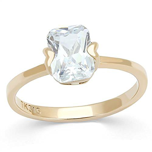 Womens 1.74 Ct Emerald Cut Solitaire Cz Rose Gold Stainless Steel Engagement Ring Size 7