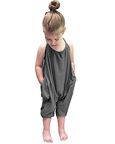 Straps Rompers Cotton Halter Toddler Jumpsuit Playsuit Harem Pants One-Piece For Kids 6M-6T Grey 4-5 Years ()