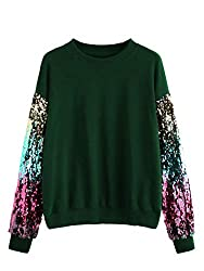 Green Round Neck With Sequin Long Sleeve Sweatshirt