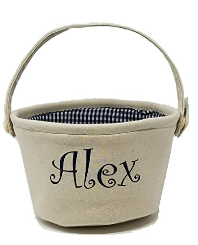 Blue Personalized Canvas (Kamal Ohava Custom Easter Bunny Personalized Canvas Gift Basket, Blue)