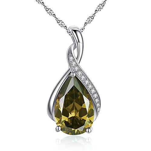 (MABELLA Jewelry Sterling Silver Simulated Peridot Birth Month Stone Pendant Necklace Mother's Day Gifts for)
