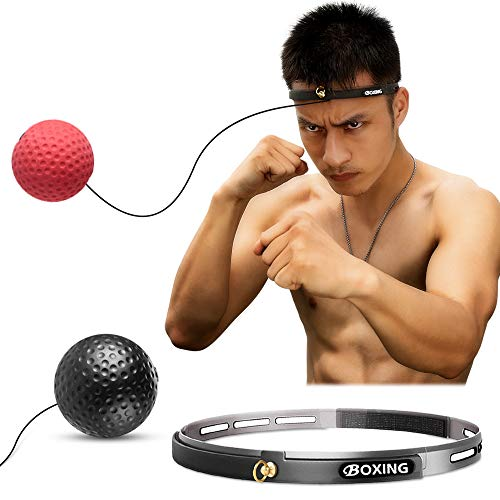 Kaqulec Boxing Reflex Fight Ball Headband Speed Punching Ball Raise Reaction,Agility & Hand Eye Coordination Training Set for Stress Boxing Muay Thai MMA Exercise Punch Combat Muscle ()