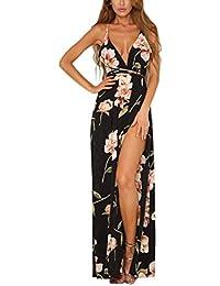 0d2cfe7925 Women's Strap Floral Print Lace Up Backless Deep V Neck Sexy Split Beach  Maxi Dress