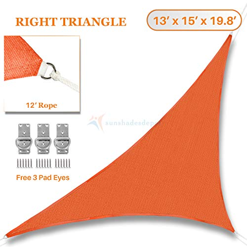 Sunshades Depot 13 x 15 x 19.8 Orange Sun Shade Sail Right Triangle Permeable Canopy Rust Orange Custom Commercial Standard