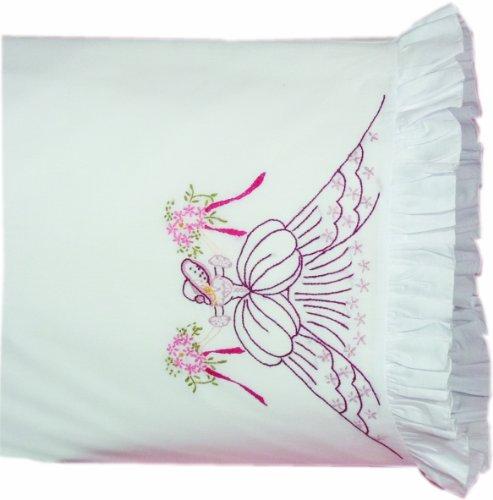 Fairway Needlecraft 82587 Vintage Ruffled Edge Pillowcases, Bouquet Lady Design, Standard, White ()