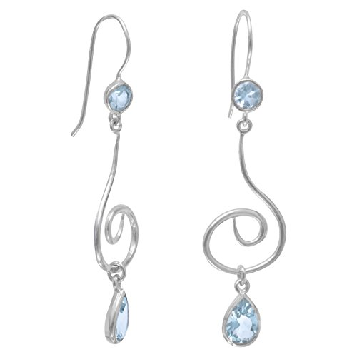 Large Swirl Design Sterling Silver French Wire Earrings with Faceted Blue Topaz (Silver Earrings Sterling Swirl Crystal)