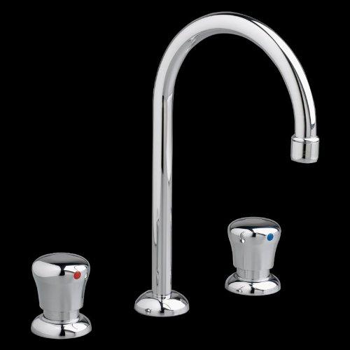 (American Standard 1340857.002 C1908Stn Metering Widespread Gooseneck Bathroom Faucet with Flow Rate 0.5 GPM)