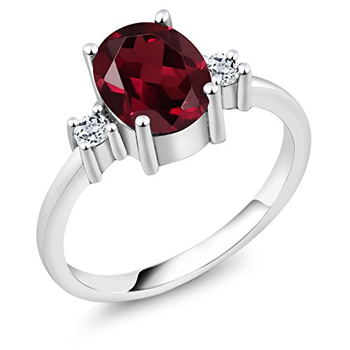 Sterling Silver Red Rhodolite Garnet & White Topaz Women's Ring (2.36 cttw, 9X7MM Oval, Available in size 5, 6, 7, 8, 9)