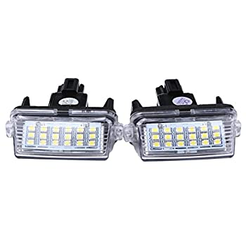 Alloet New 2 Pieces Exterior License Number Plate Lights Lamp Buld Light 18 LEDs for Toyota/Camry/Yaris 2012 2013 White