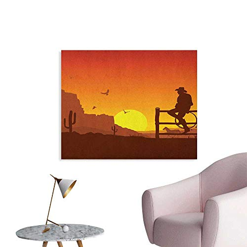 (Anzhutwelve Western Photographic Wallpaper Silhouette of Cowboy in Wild West Sunset Scene American Culture Image Artsy Print Funny Poster Burnt Orange W28 xL20)