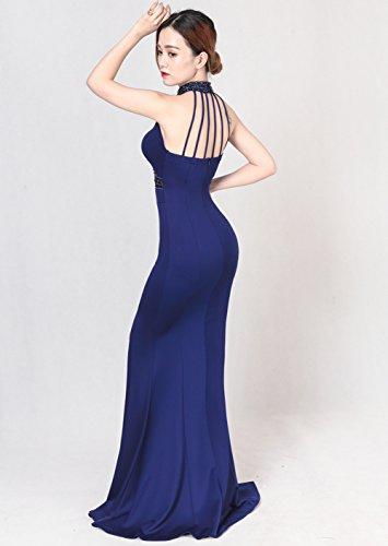Build Slim Women`s In Sleeveless cotyledon Halter Gown Blue Evening ...
