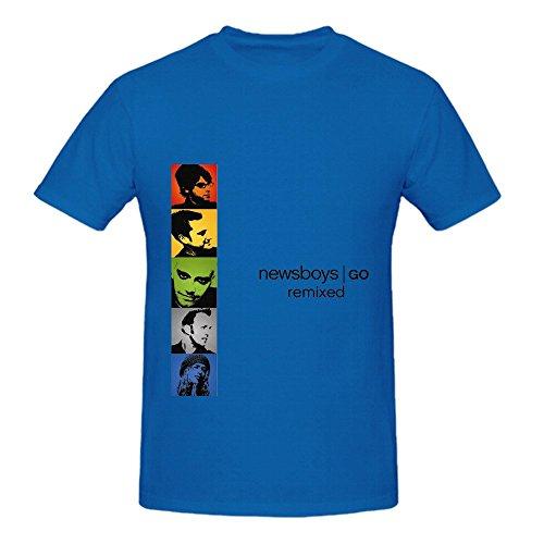 Newsboys Go Remixed Roll Men Crew Neck DTG Shirt Blue