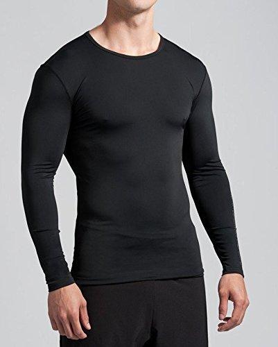 efdd20068 Buy CW Men's Nylon Full Sleeves Plain Skin T-Shirt (Black, Large) Online at  Low Prices in India - Amazon.in
