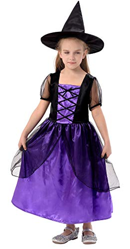 IKALI Girls Witch Costume, Classic Halloween Fancy Dress Up Outfit with Hat (6-8Y)
