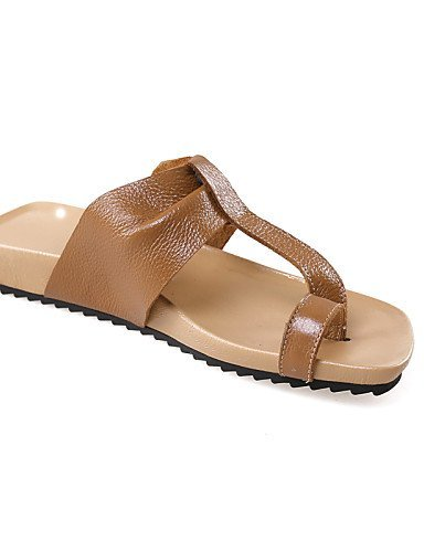 ShangYi Women's Shoes Leather Flat Heel Slingback Toe Ring Comfort Sandals Party More Colors available