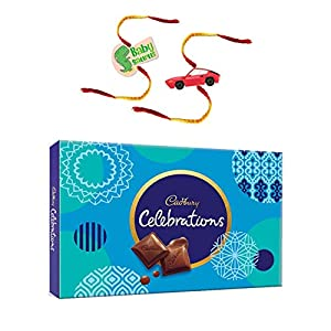 YaYa Cafe Rakhi Gifts Combo for Brother Cadbury Celebrations Assorted Chocolate Gift Pack with Baby Saurus Car Printed…