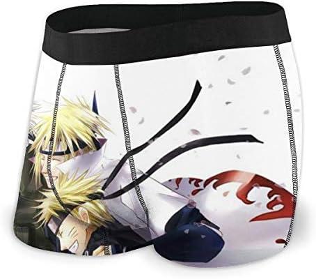 Yellowbiubiubiu Naruto Cartoon Hatake Kakashi Herren-Unterwäsche, Stretch-Boxershorts für Männer, kurze Bein-Unterhose, atmungsaktiv, bequeme Faser Pack